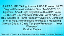 """US ART SUPPLY� Lightmaster� USB Powered 18.75"""" Diagonal Professional Artist Size (A4) 9""""x12"""" LED Lightbox - 5-Volt Light Bright Ultra-Thin 3/8"""" Profile L.E.D. Light Box Pad with 110V AC Power Adapter, USB Adapter to Power From any USB Port, Computer or Wa"""