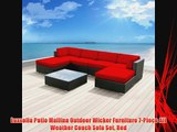 Luxxella Patio Mallina Outdoor Wicker Furniture 7-Piece All Weather Couch Sofa Set Red