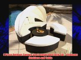 4 Piece Outdoor Canopy Sun Lounger Bed Patio Set with Ottomans Cushions and Table Resin Wicker