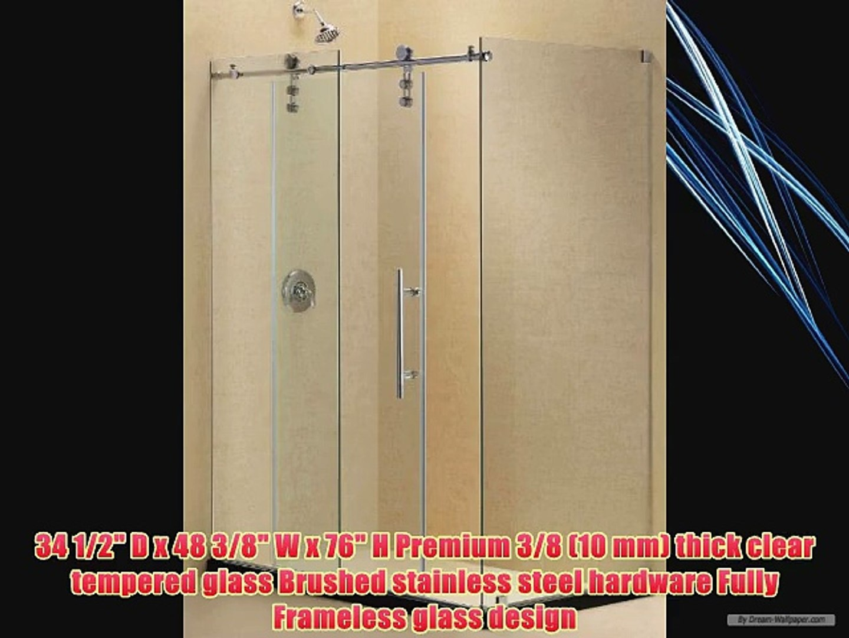 Dreamline Shen 6234480 07 Enigma Z Fully Frameless Sliding Shower Enclosure Hardware Brushed