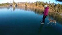 Faire du patin à glace sur un lac transparent ! Totalement insolite !
