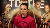 Joanna Jedrzejczyk talks to reporters after UFC 185 workout