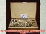AUSTRIAN 800 SILVER FITTED BOX FROSTED FLATWARE SET SERVICE 77 PIECES