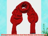 ZLYC Hand Knitted Woolen Scarf Neck Warmer with Sleeves (red)