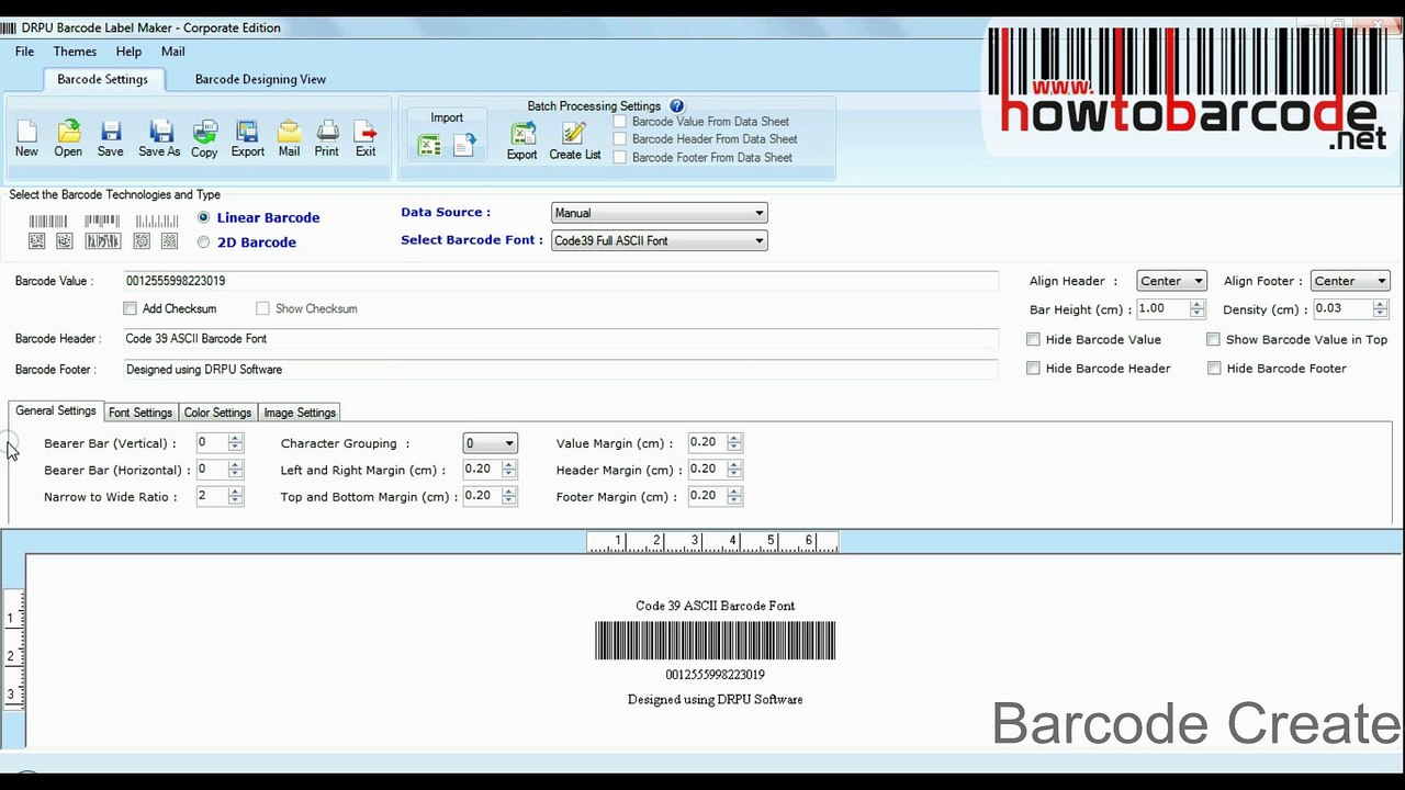 Using Code 39 full ASCII to generate barcode labels