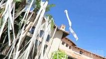 Couvrir une maison de milliers de rouleaux de papier toilette