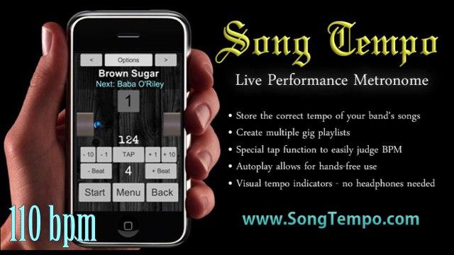 110 BPM Metronome - 10 Minutes Click Track - www SongTempo com