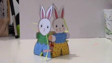 4 lapins en corbeille