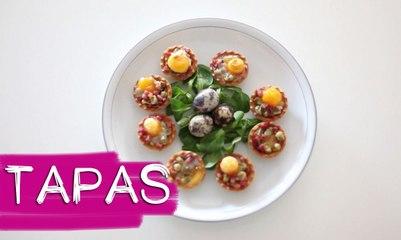 TAPAS 3:Panecillos con bacon y queso de cabra Y tartaletas con huevos de cordorniz   B A LA MODA