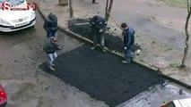 Görülmemiş bir asfalt çalışması
