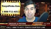 Detroit Pistons vs. Memphis Grizzlies Free Pick Prediction NBA Pro Basketball Odds Preview 3-17-2015