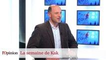 Dessin de Kak : François Hollande sur un skateboard, Manuel Valls en hérisson