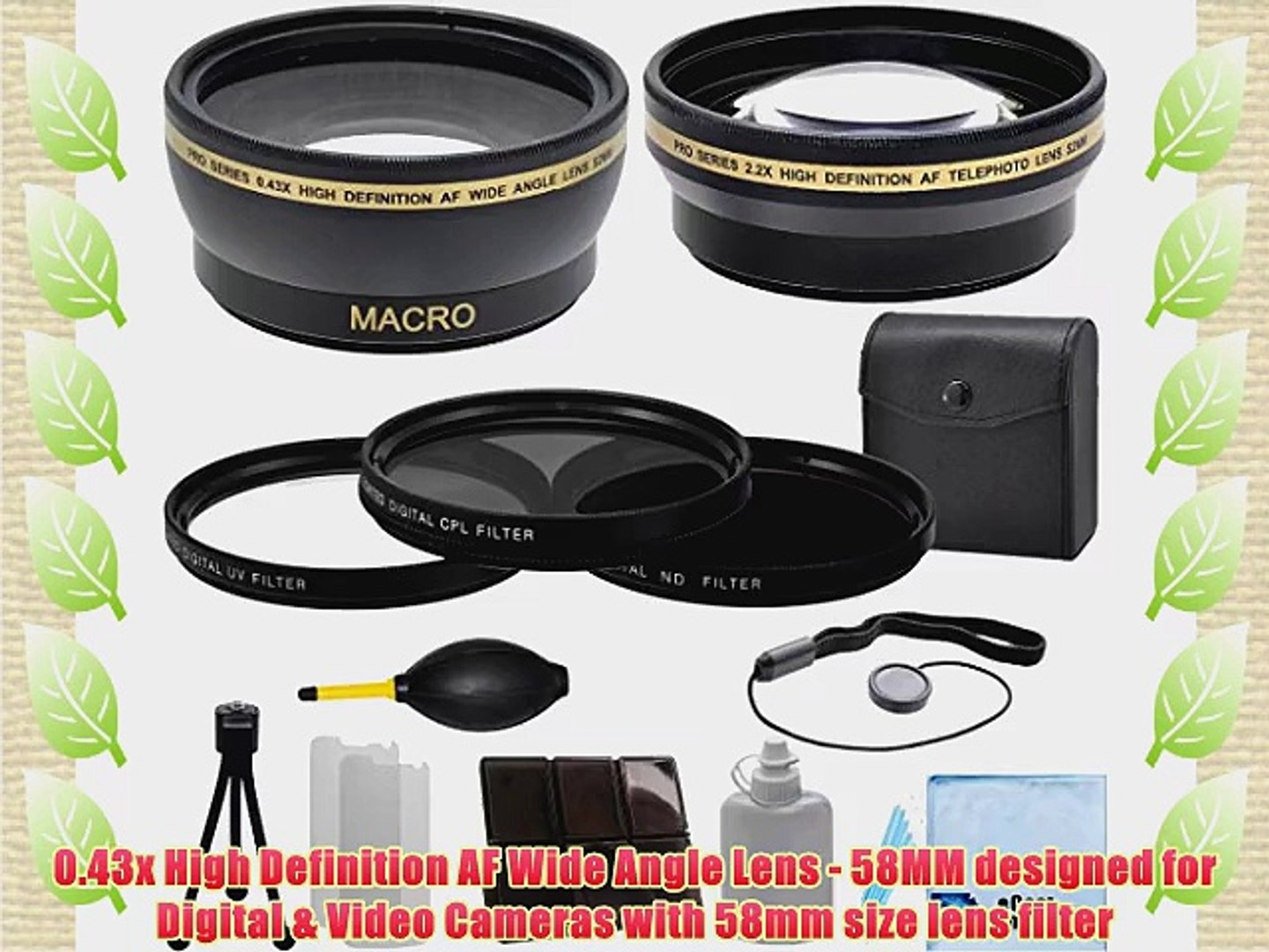 Vivitar 58mm 0.43x Wide Angle Lens 4Pc Close Up Lens 2.2x Telephoto Lens Canon EF 50mm 1.4 USM Lens Canon EF-S 55-250mm 4-5.6 IS STM Lens Canon E Lens Hood with Deluxe Lens Accessories Kit for Canon EF 75-300mm 4-5.6 III Lens 3 Pieces Filter Set