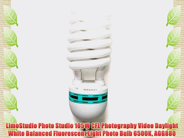 Home AGG2691 Set of 2 Office LimoStudio 105W CFL Photography Video Daylight 6500K White Balanced Fluorescent Light Bulb for Studio