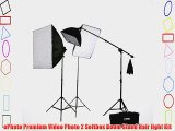 ePhoto Digital Video Continuous Softbox Lighting Kit and Boom Stand Hair Light with Carrying