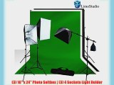 LimoStudio 3pcs 6x9 Chromakey Green Black White Screen Muslin Backdrops Background Support