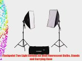 Flashpoint Two Light Softbox kit with Fluorescent Bulbs Stands and Carrying Case