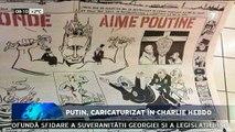 """Putin, caricaturizat în Charlie Hebdo în ipostaze indecente. Poartă o coroană cu imaginea bisericii Sf. Vasile cel Mare din Piața Roșie de la Moscova. Cu stema KGB-ului, o caracatiţă '""""Gazprom""""' şi cadavrele mai multor opozanţi"""