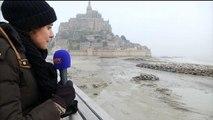 Marée du siècle: au Mont-Saint-Michel, la mer se retire sur plusieurs kilomètres