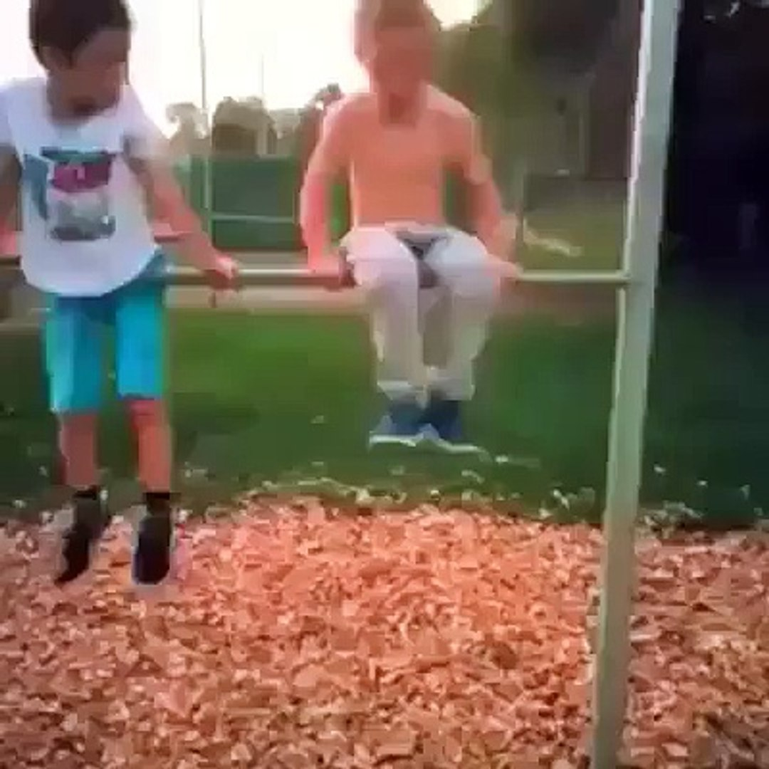 Funny kid playing circle cradle