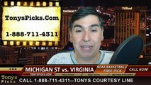 Virginia Cavaliers vs. Michigan St Spartans Free Pick Prediction NCAA Tournament College Basketball Odds Preview 3-22-2015