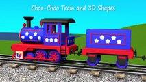 Shapes for kids kindergarten toddlers preschoolers. Shape train. Choo-Choo and 3D shapes. Cartoon