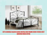 4FT6 DOUBLE BLACK GLOSS METAL BED FRAME NEW STOCK JUST ARRIVED WEB OFFER