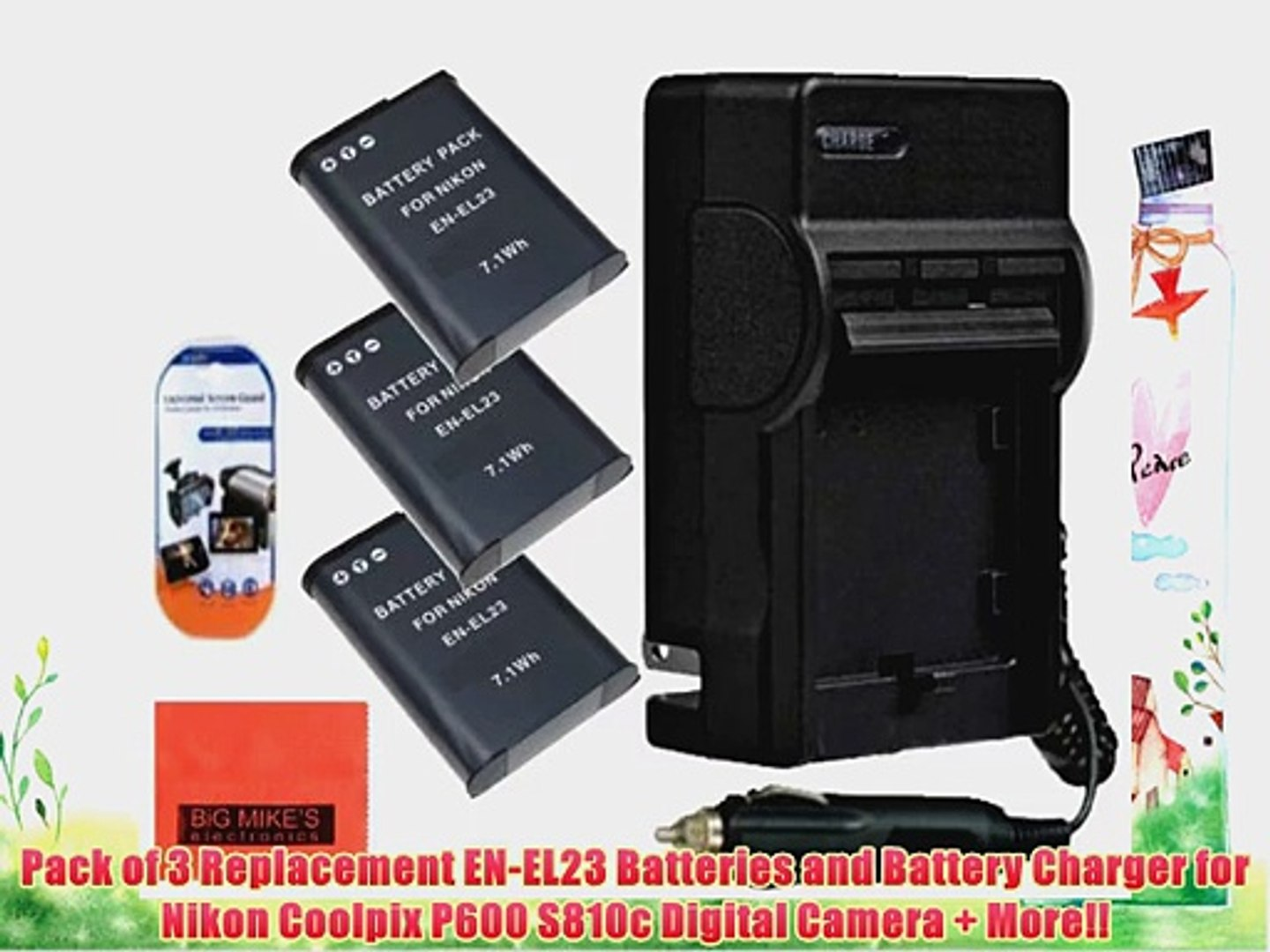 Pack of 3 Replacement EN-EL23 Batteries and Battery Charger for Nikon Coolpix P600 S810c Digital