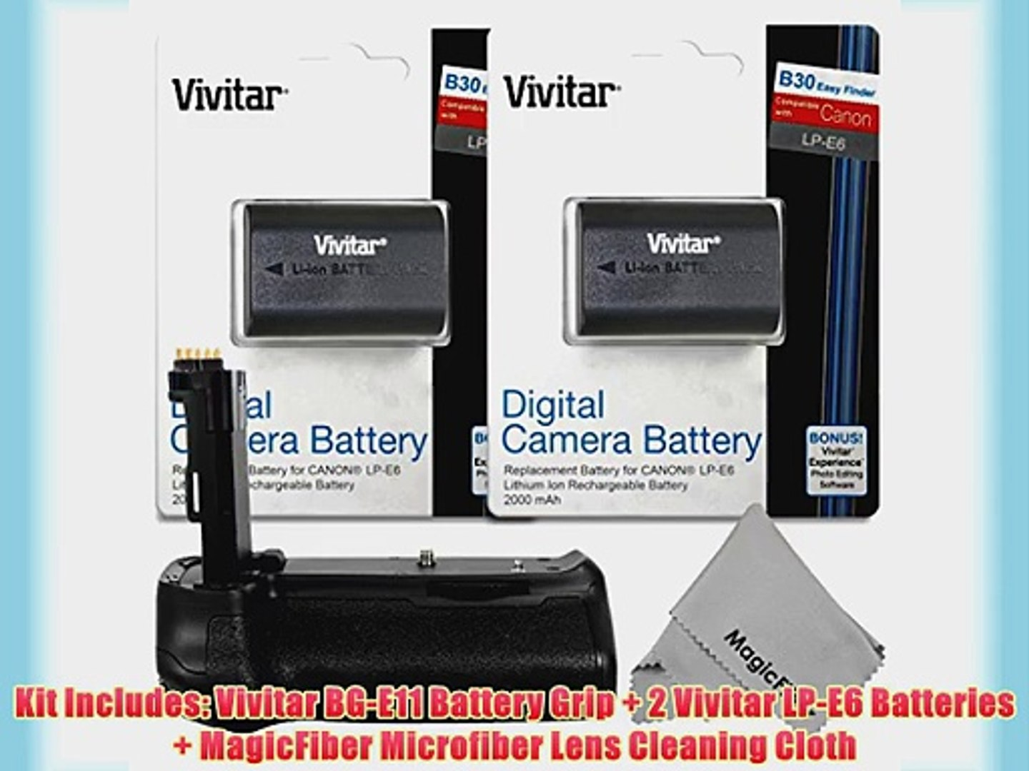 Vivitar BG-E11 Battery Grip for Canon EOS 5D MARK III DSLR Cameras   2 Vivitar LP-E6 Batteries