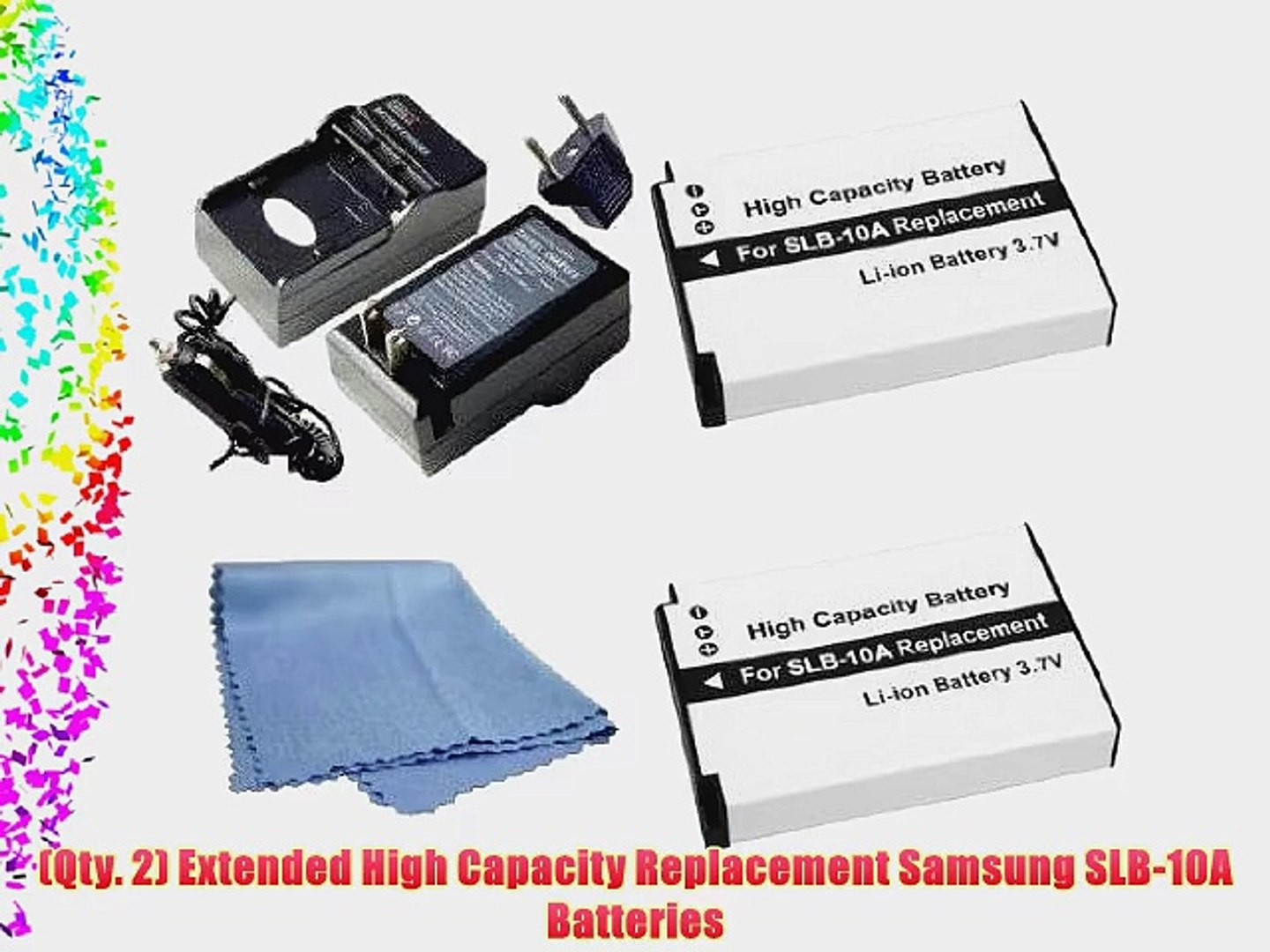 SaveOn 2 Pack Battery and Charger Kit includes Two High Capacity Samsung SLB-10A Batteries