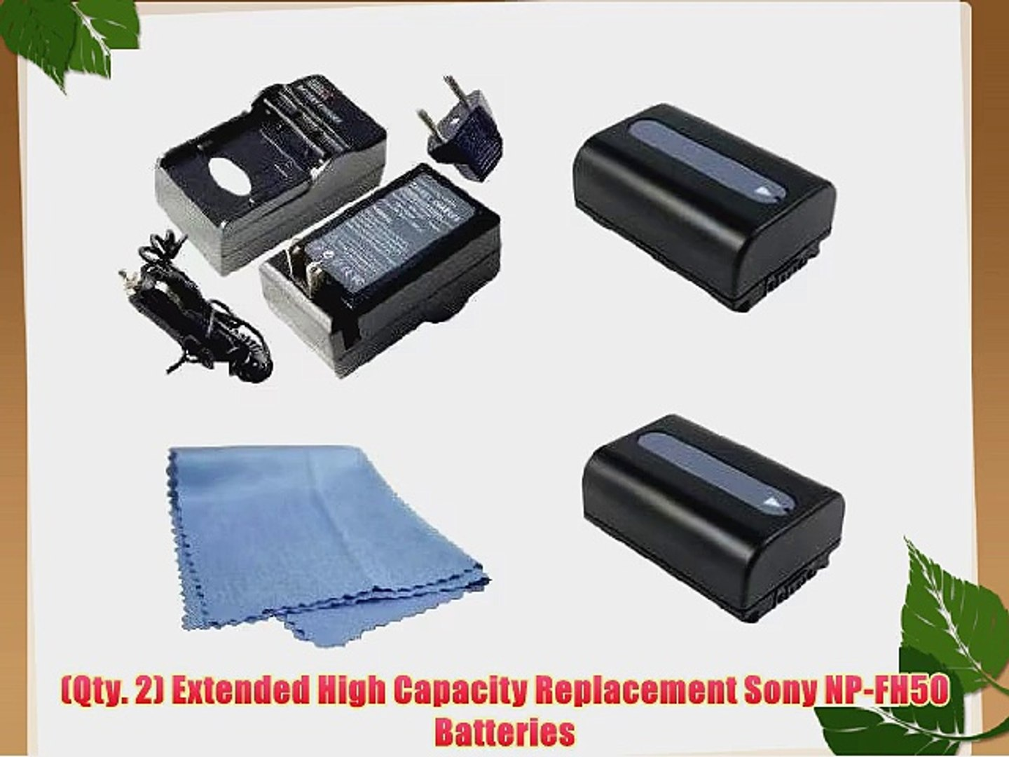 SaveOn 2 Pack Battery and Charger Kit includes Two High Capacity Sony NP-FH50 Batteries   Rapid