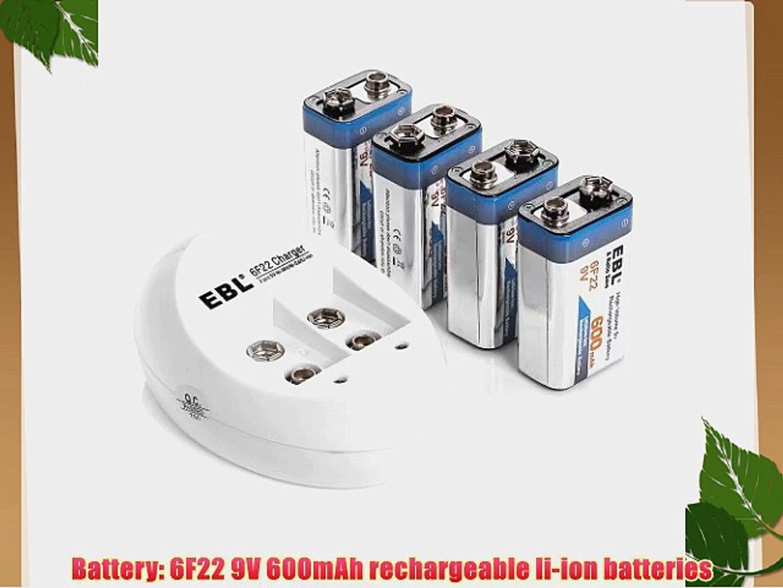 EBL 4-Slot 6F22 9V Battery Charger For 9 Volt Li-ion Rechargeable Batteries