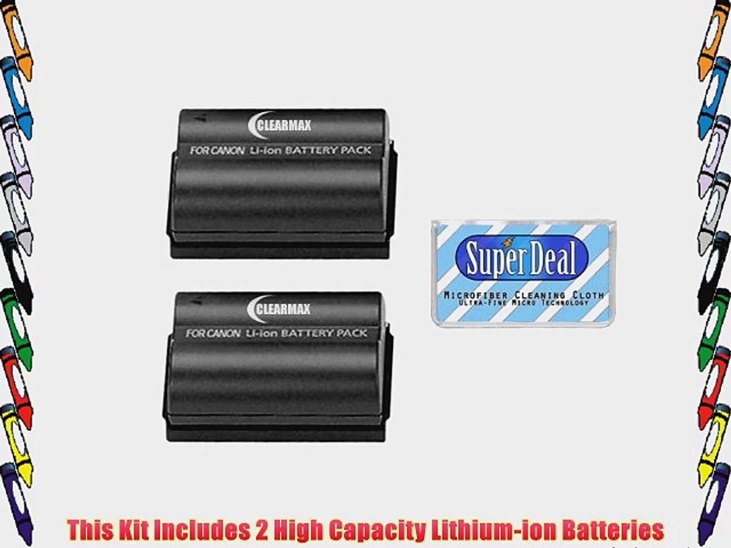 ClearMax Battery (2-Pack) of High Capacity Batteries For Canon EOS 5D 10D 20D 20Da 30D 40D