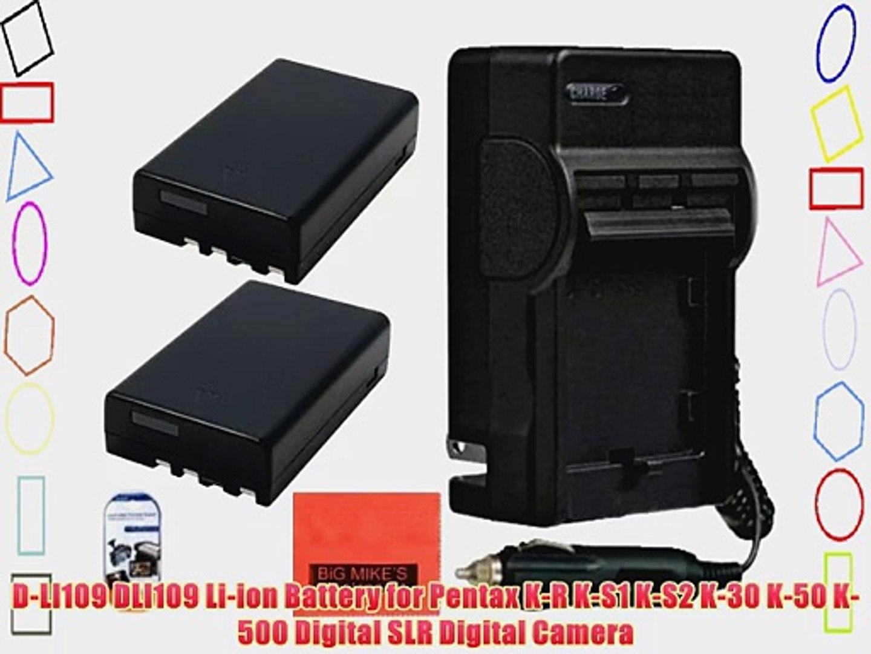Pack Of 2 D-LI109 Batteries And Battery Charger for Pentax K-R K-S1 K-S2 K-30 K-50 K-500 Digital