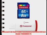 Transcend 8 GB Class 6 SDHC Flash Memory Card with USB Card Reader TS8GSDHC6-P2