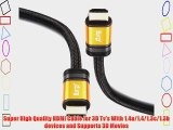 IBRA? 6m High Speed ORANGE GOLD HDMI Cable 3D PS4 2160p 4K Ultra HD(6M/19.2 Feet)