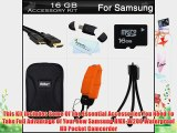 16GB Accessories Kit For Samsung HMX-W200 Waterproof HD Pocket Camcorder Includes 16GB High