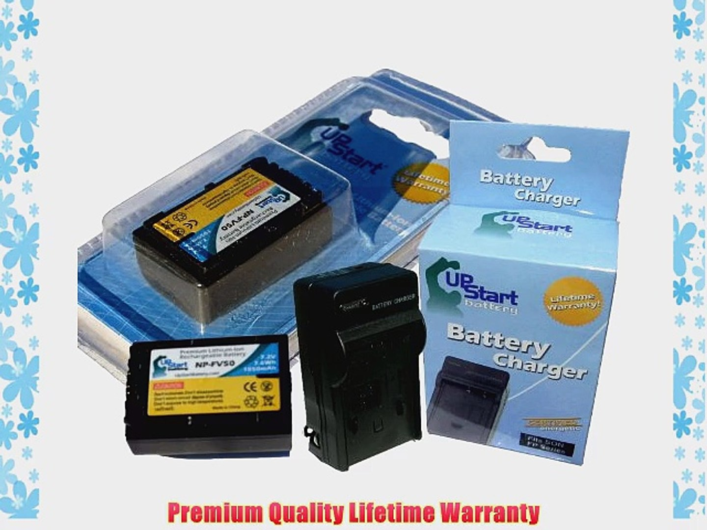 UpStart Battery New - Fully Decoded NP-FV50 Replacement 2 Batteries Charger Kit for Sony Camcorders