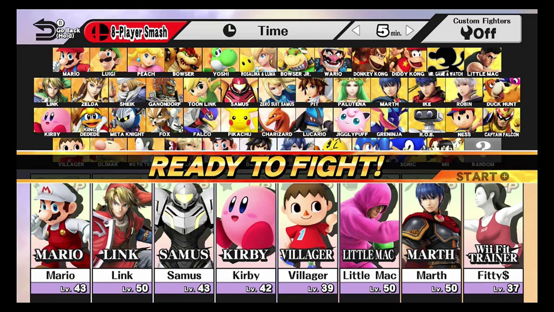Super Smash Bros Wii U 8 Player Amiibo Training