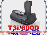 Battery Grip for Canon EOS 550D 600D/Rebel T2i T3i Camera 4x LP-E8 Batteries