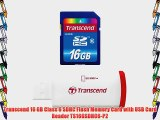 Transcend 16 GB Class 6 SDHC Flash Memory Card with USB Card Reader TS16GSDHC6-P2