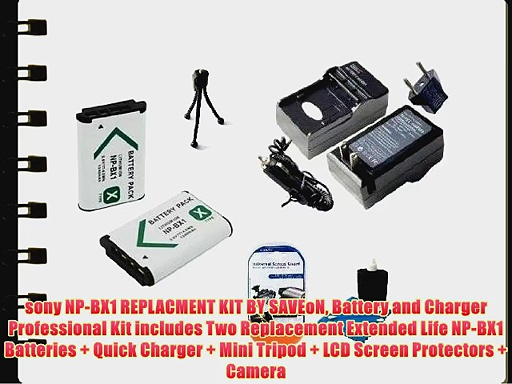 sony NP-BX1 REPLACMENT KIT BY SAVEoN Battery and Charger Professional Kit includes Two Replacement