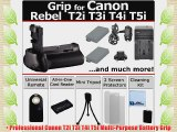 Professional Vertical EOS Rebel T2i T3i T4i T5i Multi-Purpose Battery Grip for Canon EOS Rebel