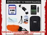4GB Accessory Kit For Kodak EasyShare Sport C123 C135 Waterproof Digital Camera Includes 4GB