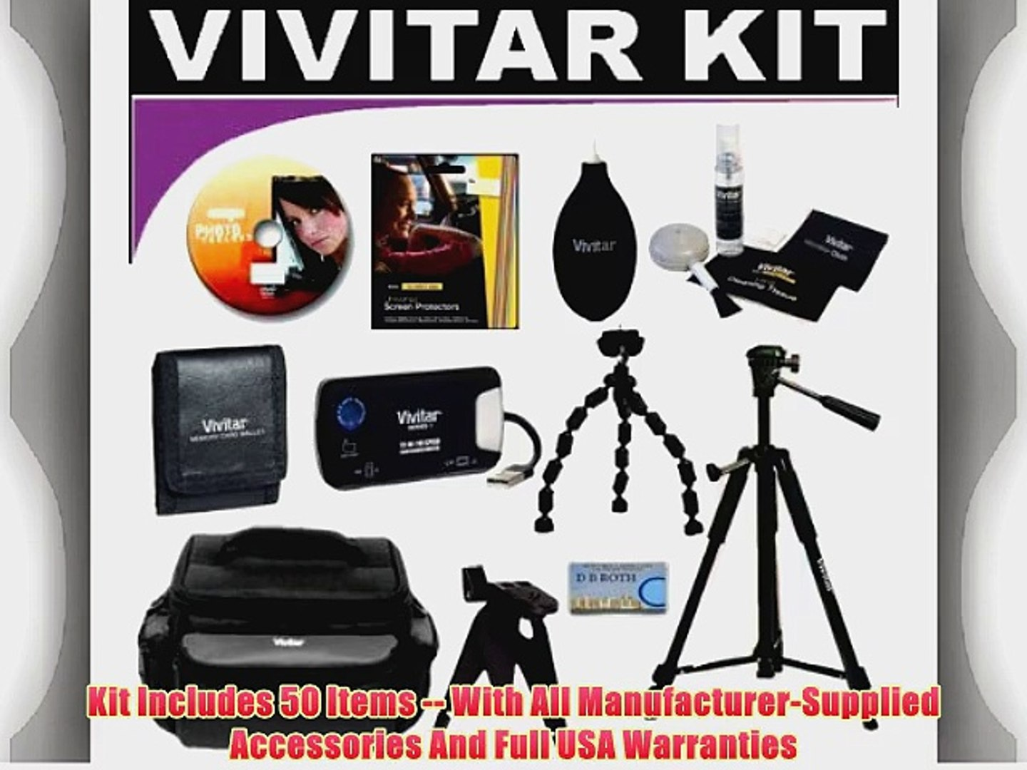 50 PC Fantasy Kit The Kit Of Your Dreams Which Includes Lenses Filters Cases Battery Grip Batteries