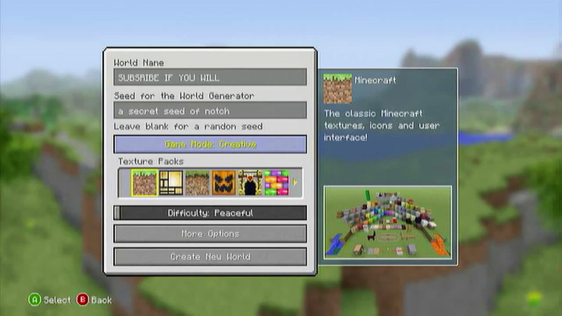 Minecraft (Xbox11/Ps11) - (TU211) Seed - ( a secret seed of notch