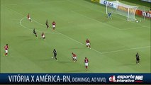 DESPERDIÇOU! Cara a cara com o goleiro, Flávio desperdiçou para o Vitória, na Copa do Nordeste