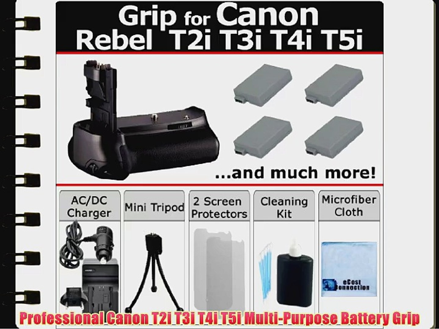 Professional EOS Rebel T2i T3i T4i T5i Multi Purpose Battery Grip for Canon  EOS Rebel T2i T3i