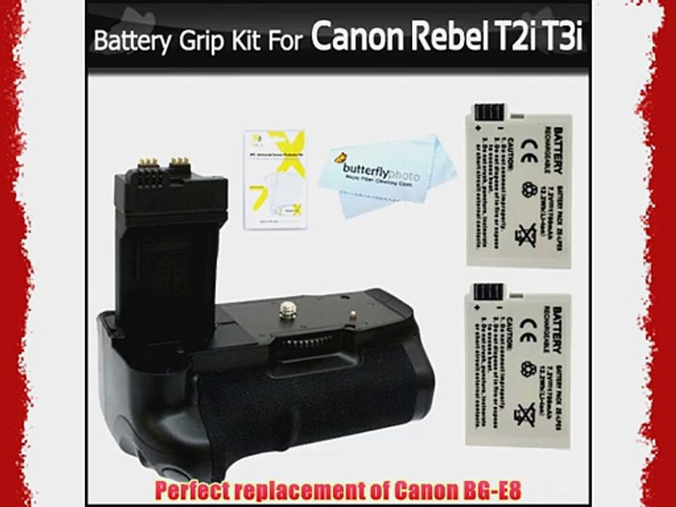 Photive Ph Bge8 Battery Grip With 2 Extra Replacement Lp E8 Batteries For Canon Rebel T5i T4i