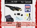 16GB Accessories Kit For Canon PowerShot SX500 IS SX510 HS SX520 HS SX530 HS Digital Camera
